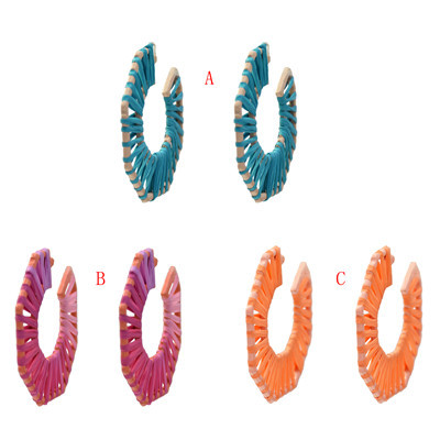 E-5332  3 Colors Hand-Knitted Hollow Out Rattan Round Ear Hanging Simple Jewelry for Woman