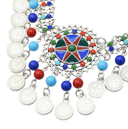 N-7236 Gypsy silver coin tassel colorful beads tassel choker statement necklace for women tribal jewelry