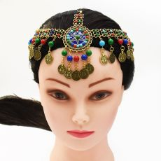 F-0640 Women Colorful Beads Coin Tassel Belly Dance Head Chain Maang Tikka  Costume Gypsy Vintage Hair Jewelry