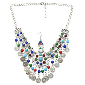 F-0639 Unique Turkish Women Colorful Beads Tassel Coin Belly Dance Head Chain Maang Tikka  Silver Vintage Hair Jewelry
