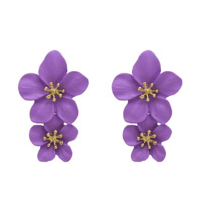 E-5338 5 Colors Cute Romantic Flower Stud Earrings Korean Bohemian Bijoux Jewelry Gift