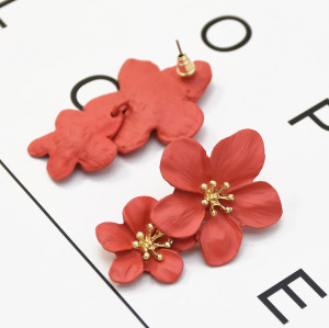 E-5338 5 Colors Cute Romantic Flower Stud Earrings Korean Bohemian Bijoux Jewelry Gift