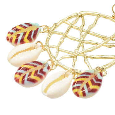 E-5339  2 Colors Trendy Big Gold Metal Natural Sea Shell Pendant Drop Earrings for Women Beach Party Jewelry