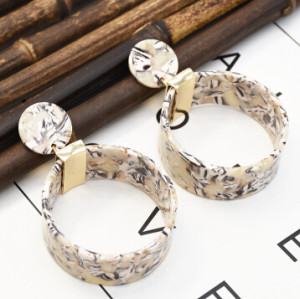 E-5342  4 Colors Fashion Geometric Big Circle Acrylic Drop Earrings for Women Ladies Wedding Party Jewelry