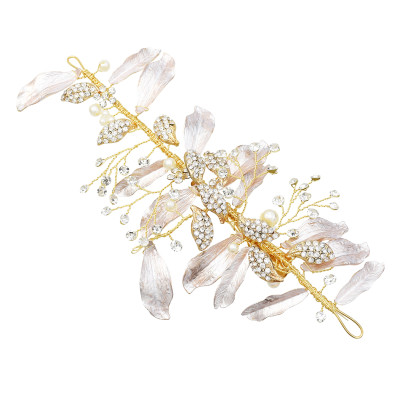 F-0650  Luxuries Crystal Leaf Hairpins Girls Silver Pearls Princess Headpiece Wedding Hair Accessories Gold Barrettes Hairclip