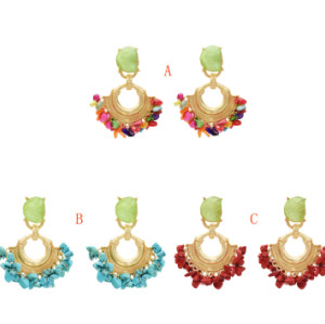 E-5345  3 Colors Fashion Gold Metal Turquoise Stone Beaded Earrings for Women Wedding Party Statement Jewelry