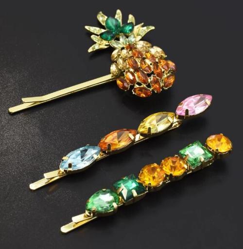 F-0654  3pcs/set Fashion Golden Pineapple Shape Rhinestone Hairpin Female Hairpin Hair Accessories