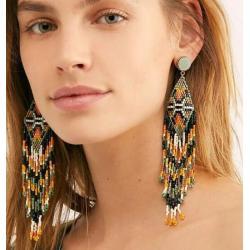E-5344 *Fashion Acrylic Beads Tassel Drop Earrings Female Bridal Wedding Party Jewelry