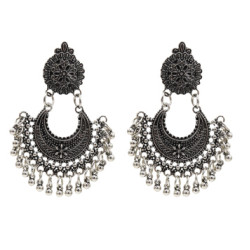 E -5346  Vintage Silver Gold Plated Zamak Indian Bells Tassel Earrings For Women Ethnic Jewellry