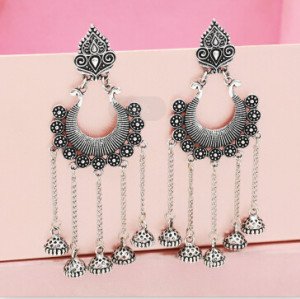 E-5349  Ethnic Vintage Style Silver Carved Flower Drop Zamak Gypsy Indian Bells Long Tassel Statement Earrings For Women Boho Jewelry