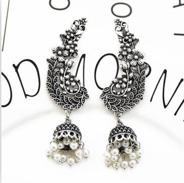 E-5349  Ethnic Vintage Style Silver Carved Flower Drop Zamak Gypsy Indian Bells Long Tassel Statement Earrings For Women Boho Jewelry