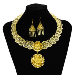 N-7244  Gypsy Turkish Gold Silver Carved Flower Necklace Earrings Sets Women's Tassels Pendant Jewelry Sets