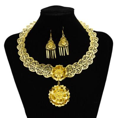 N-7244  Gypsy Turkish Gold Silver Carved Flower Necklace Earrings Sets Women's Tassels Pendant Jewelry Sets