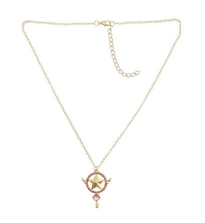 N-7248  2 Styles Gold Alloy Rhinestone Star Key Pendant Necklaces for Women Wedding Party Jewelry Gift