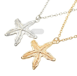 N-7249  2 Style Simple Silver Gold Alloy Shell Star Shaped Pendant Chain Necklace Statement Female Fashion Jewelry