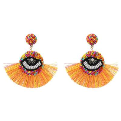 E-5358  Beaded Eye Thread Drop Dangle Earrings Statement Handmade Bohemian Jewelry