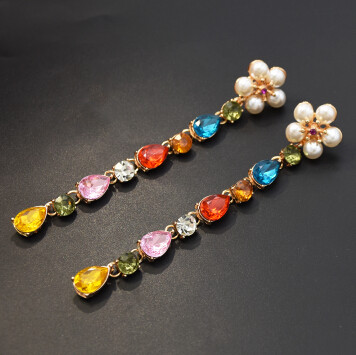 E-5357  Elegant Flower Pearl Crystal Long Drop Earrings for Women Bridal Wedding Party Jewelry