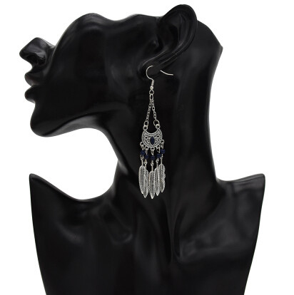 E-5356 Ethnic Vintage Style Silver Gold Moon Shaped Drop Zamak Gypsy Indian Bells Long Tassel Statement Earrings For Women Boho Jewelry