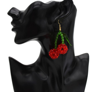 E-5363  Cute Handmade Girl Resin Beaded Cherry Drop Earrings For Women Summer Holiday Jewelry