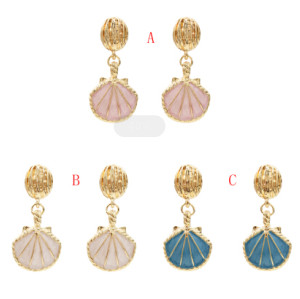 E-5367  Summer Marine Style Sea Shell Drop Earrings Gold For Women Wedding Party Beach Jewelry