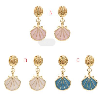 E-5367  Summer Marine Style Sea Shell Drop Earrings Gold For Women Wedding Party Beach Jewelry