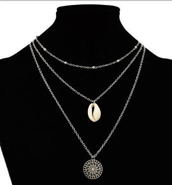 N-7251   3 Styles Women Silver Gold Metal Geometric Cross Natural Sea Shell Pendant Necklaces Summer Jewelry