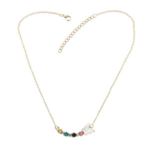 N-7250   3 Styles Gold Alloy Rhinestone Star Key Heart-shaped Pendant Necklaces for Women Wedding Party Jewelry Gift