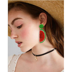 E-5299 Cute Girl Resin Beads Fruit Watermelon Shape Drop Earrings For Women Statement Party Jewelry