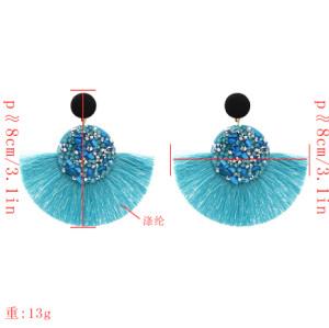E-5370    Ethnic Bohemian Rhinestone Resin Bead Thread Tassel Drop Earrings for Women Wedding Party Jewelry