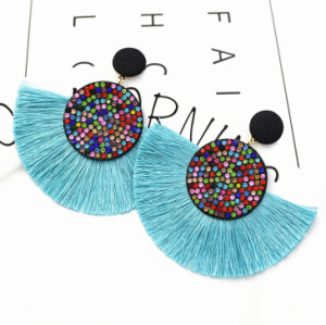 E-5372   Ethnic Thread Tassel Rhinestone Drop Dangle Earrings Statement Handmade Bohemian Jewelry