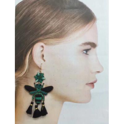 E-5374   3 Colors Handmade Cute Bee Shape Cotton Thread Drop Earrings for Women Summer Party Jewelry