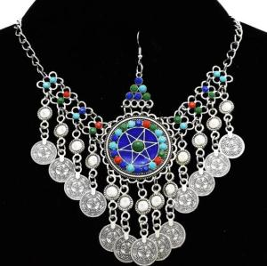 F-0664  Women Colorful Beads Coin Tassel Belly Dance Head Chain Maang Tikka  Costume Gypsy Vintage Hair Jewelry