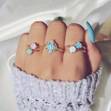 R-1506   5pcs/set New fashion Gold Plated Rhinestone Beads Midi Finger Ring Sets  Ethnic Women Girls Rings