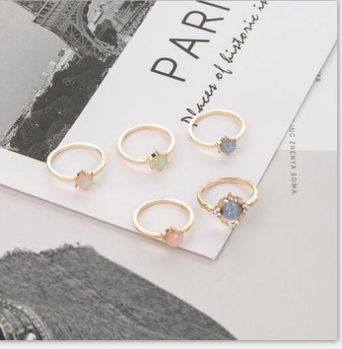 R-1506   5pcs/set New fashion Gold Plated Rhinestone Beads Midi Finger Ring Sets  Ethnic Women Girls Rings