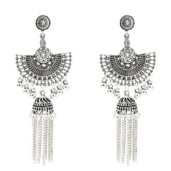 E-5379  Indian Vintage Gold Silver Long Tassel Statement Jhumka Earrings For Women Ethnic Party Jewelry