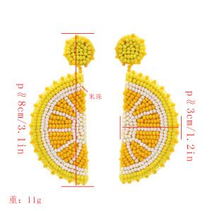 E-5378  Creative Fruit Lemon Earrings Summer Cool Beach Party Earrings Women's Gifts