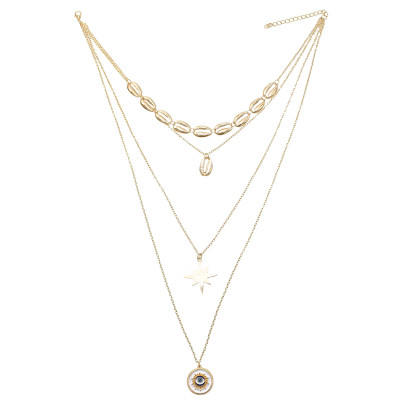 N-7253 New Fashion Multi-layer Gold Metal Geometric Shell Pendant Necklaces For Women Party Summer Jewelry