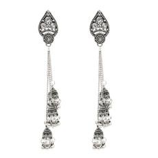 E-5380 Vintage Silver Gold Zamak Long Tassel Rhinestone Statement Earrings For Women Boho Gypsy Indian Jewelry