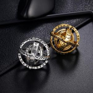 R-1508 2 Colors Romantic Astronomical Sphere Ball Ring Cosmic Finger Ring Couple Lover Gift