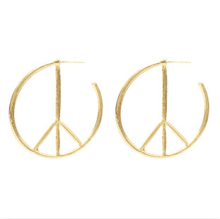 E-5385  Punk Anti-War Peace Sign Hoop Earrings Statement Geometric Round Circle Earrings for Women Jewelry