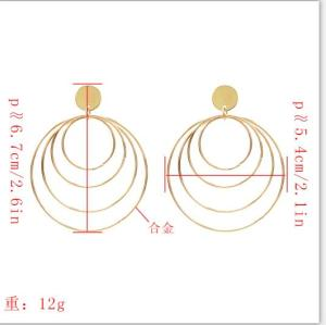 E-5382 Gold Metal  big 4 Layers Circle Round Tassel Drop Earrings For Women Party Jewelry Gifts