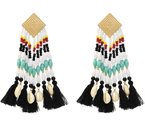 E-5388 Ethnic Bohemian Natural Shell Pendant Resin Beaded Statement Long Tassel Drop Earrings Party Jewelry