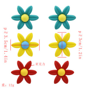 E-5393 3pairs/set Trendy Acrylic Flower Shaped Stud Earrings for Women Bridal Party Jewelry Gift