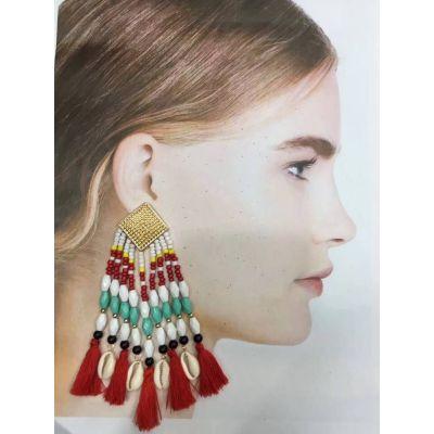 E-5388 Ethnic Bohemian Natural Shell Pendant Resin Beaded Statement Long Tassel Drop Earrings Party Jewelry