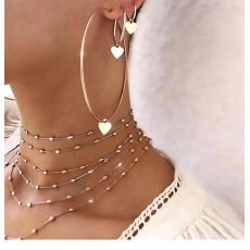 E-5383  3 Style Simple Hoop Earrings For Women Hollow Round Circle Earrings With Heart Earrings Golden Color Jewelry