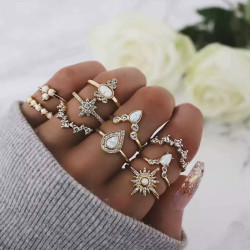 R-1509  10pcs/set New fashion Gold Plated Rhinestone Beads Midi Finger Ring Sets  Ethnic Women Girls Rings