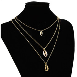 N-7257 Fashion Gold Metal Natural Sea Shell Pendant Necklaces Multilayer Link Chains Necklace For Women Summer Jewelry