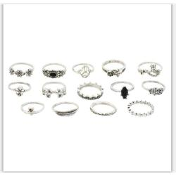 R-1510  3 Styles New Fashion  Gold  Silver Plated Rhinestone  Midi Finger Ring Sets  Ethnic Women Girls Rings