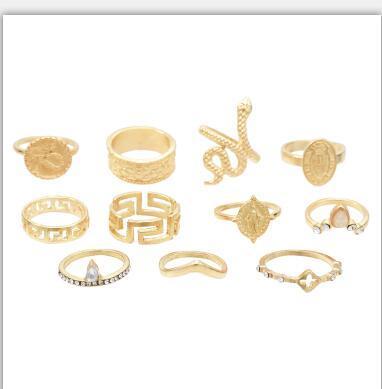 R-1510  3 Styles New Fashion  Gold  Silver Plated Rhinestone  Midi Finger Ring Sets  Ethnic Women Girls Rings