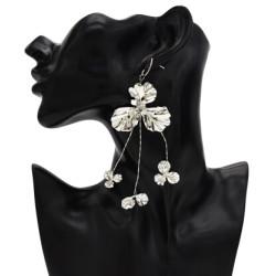 E-5394 New Elegant Gold Silver Metal Leaf Drop Dangle Earrings for Women Summer Party Jewelry
